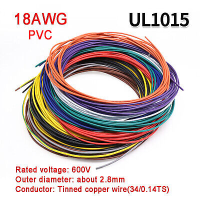 AU18.15 • Buy 18AWG PVC Electronic Cable Tinned Copper Stranded Wiring 600V High TEMP 105℃