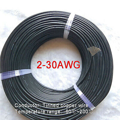AU18.69 • Buy Black 2-30AWG Flexible Silicone Cable, HIGH TEMP 200℃, 0.08mm Tinned Copper Wire