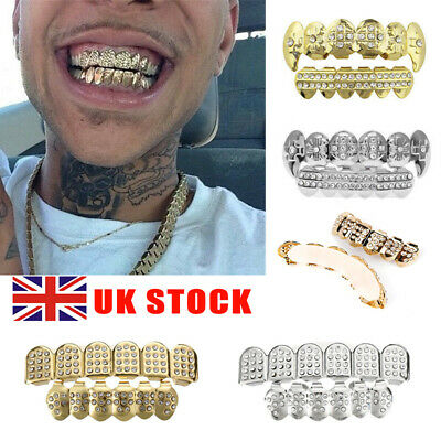 £6.69 • Buy Silver Gold Grillz 18k Plated Diamond Teeth Mouth Grills Bling Hip Hop Cosplay