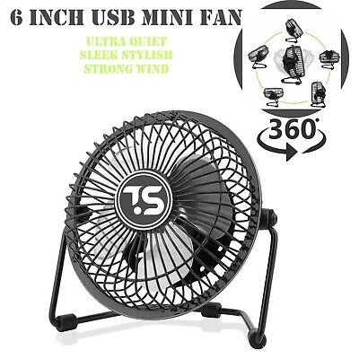 £8.99 • Buy Mini USB Desk Fan 6inch Strong Wind Small Quiet Portable Table Personal Cooler