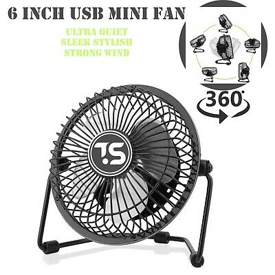 AU16.30 • Buy Mini USB Desk Fan 6inch Strong Wind Small Quiet Portable Table Personal Cooler