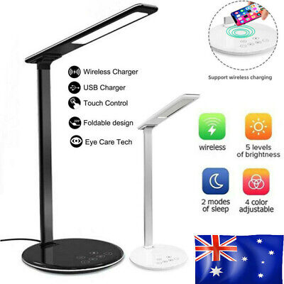 AU17.99 • Buy 2 In 1 LED Desk Table Lamp Dimmable Bedside Reading Light Wireless Phone Charger