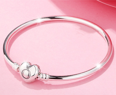 AU50.87 • Buy Authentic PANDORA Signature Embossed Heart Clasp Sterling Silver Bangle #596268