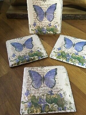 £8 • Buy Butterfly Natural Slate Coasters Handmade And Available In A Set Of 4.