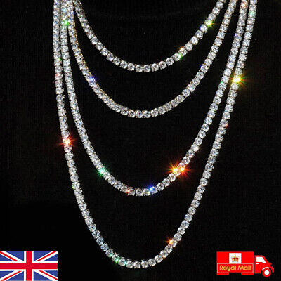£7.99 • Buy Mens Womens Iced Out Silver Diamond Shiny Chain Tennis Necklace Choker Jewellery
