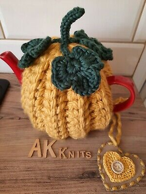 £16 • Buy New Handmade Chunky Crochet Pumpkin Tea Cosy M/L Teapot With Unique Gift Tag