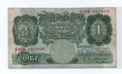 £1 Old One Pound Note Used  L K O'Brien U90K 357809 • 0.49£