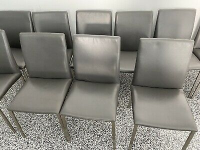 AU250 • Buy Dining Chairs - 6 X Grey Leather Chairs In Outstanding Condition