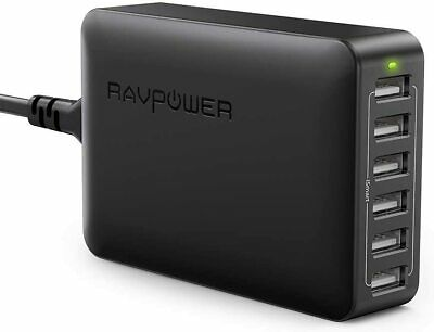 AU48.95 • Buy NEW-RAVPower 60W 12A 6-Port USB Charger Desktop Charging Station With ISmart (bl