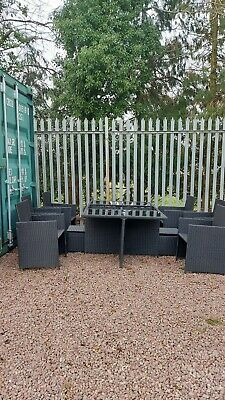 Rattan Garden Furniture Dining Table & Chairs 9 Piece Set 8 Seater Collect NP25 • 150£