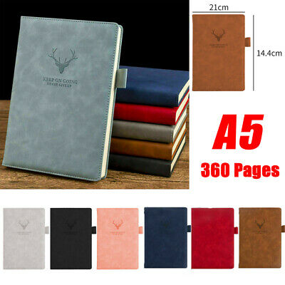 A5 Leather Vintage Notebook 360 Lined Pages Notepad Note Book Journal Diary Gift • 8.99£