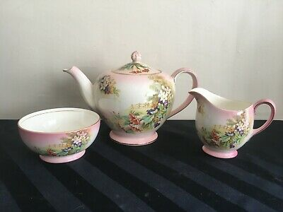 $ CDN194.10 • Buy Vtg ROYAL WINTON GRIWADES TEA SET FLORALS PINK TEAPOT SUGAR BOWL CREAMER