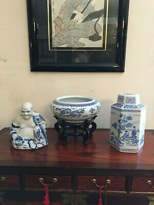 £110 • Buy Blue And White Chinese Octagonal  Porcelain Tea Caddy