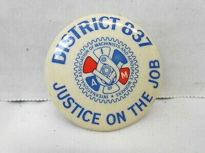 $9.99 • Buy Machinists Aerospace Workers Union Button IAMAW District 837 Hat Lapel