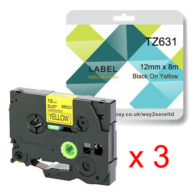 £7.87 • Buy 3 Roll Fits Brother TZ631 Label Tape For P Touch PT1000 PT1005 PT1090 PT1010B