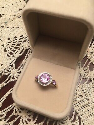 AU450 • Buy Created Pink Sapphire And Diamond Ring 9ct Gold~~