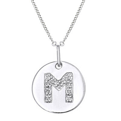 $193.49 • Buy Natural Diamond Initial  M  Disc April Birthstone Pendant In Sterling Silver