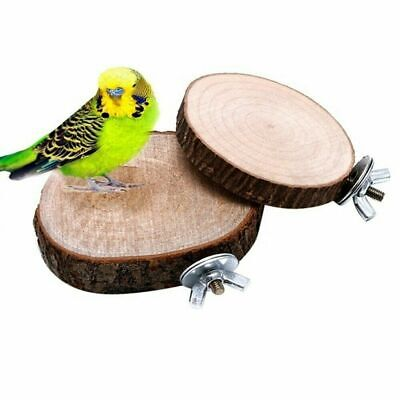 £4.66 • Buy Wooden Round Coin Bird Perch Stand Parrot Budgie Hamster Cage Platform Play Toy