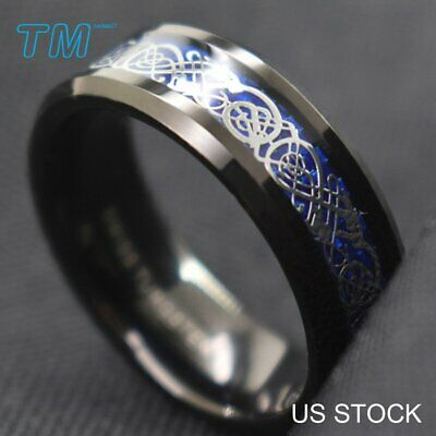 $4.12 • Buy 8mm Mens Tungsten Carbide Ring Silver Celtic Dragon Wedding Band Ring Jewelry