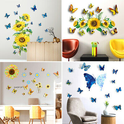 AU6.11 • Buy 3D Sunflower Butterfly Wallpaper Decals PVC Waterproof Ins Home Decor Stickers