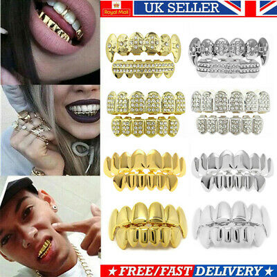 £5.69 • Buy Gold Silver Plated Top & Bottom Set Hip Hop Teeth W/ Diamond Grillz Mouth Grills