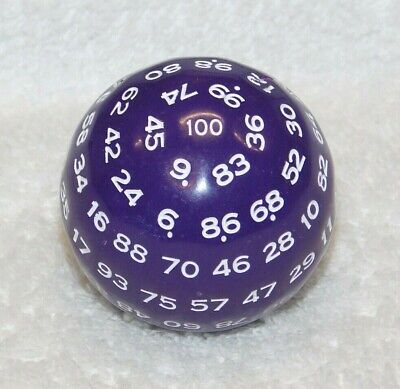 AU22.92 • Buy 100 SIDED DICE - D100 - DUNGEONS AND DRAGONS - DnD - D&D - PURPLE