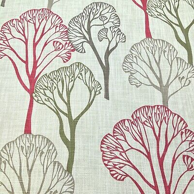 £8 • Buy 1048. Raspberry Tree Design Linen Blend Fabric, Curtains, Upholstery, Cushions.