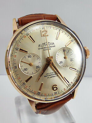 $ CDN753.04 • Buy ALMADIA Chronographe Suisse Vintage Gold Plated Manual Wind Chronograph Watch