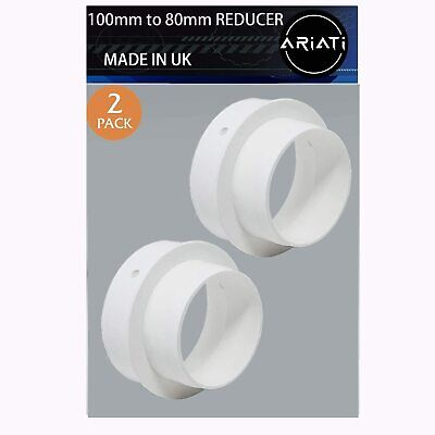 £8.49 • Buy Pack Of 2 Plastic Duct Pipe Reducer / Adapter  Extraction 100mm - 80mm