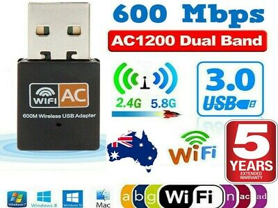 AU8.85 • Buy Dual Band 600Mbps USB WiFi Wireless Dongle AC600 Lan Network Adapter 2.4GHz 5GHz