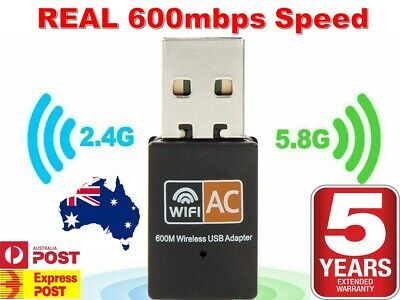 AU8.90 • Buy Dual Band 600Mbps USB WiFi Wireless Dongle AC600 Lan Network Adapter 2.4 + 5GHz