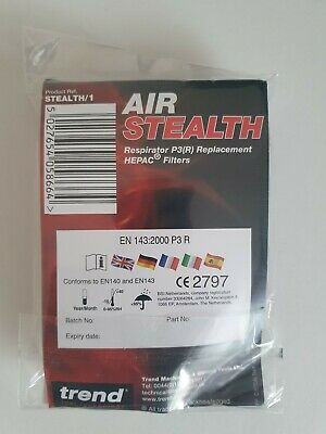 Trend Air Stealth Mask P3 HESPA Filters 99.99% SPARE FILTERS ONLY Royal Mail 1st • 0.01£