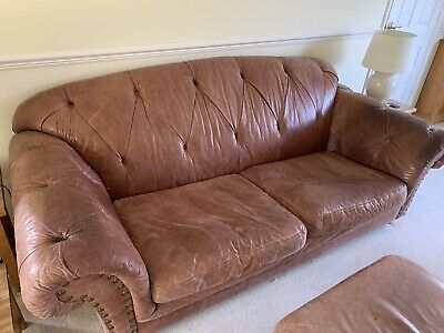 Brown Leather 3 Piece Suite • 10£