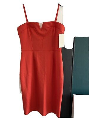 River Island Size 14 Strapless Fitted Bodycon Dress. Coral/orange • 10£