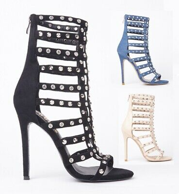 £14.99 • Buy Ladies Womens High Heel Evening Dressy Peep Toe Diamante Cut Out Cage Sandals