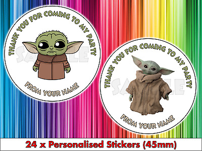 £2.29 • Buy 24 Personalised Baby Yoda Birthday Party Stickers Thank You The Mandalorian