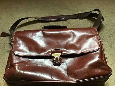 The Bridge Large Brown Leather Briefcase Laptop Bag Three Compartments  VGC • 58£