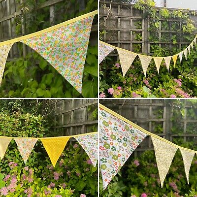 £9 • Buy 💛Yellow Bunting - Floral Gingham Polka Shabby Chic Decor Pretty Fabric 9ft💛