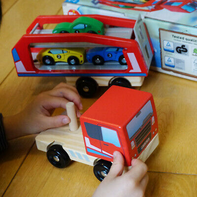 $ CDN33.23 • Buy Simulation Wooden Car Carrier Vehicle Toys Double Decker Trailer For Kids