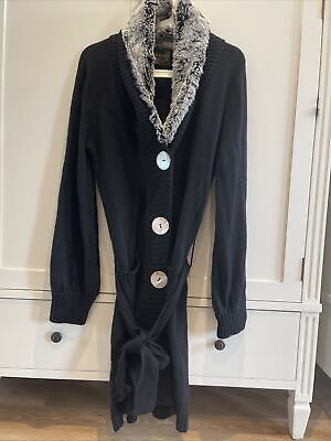 N Peal Pure Cashmere Long Rabbit Fur Collar Cardigan Size S • 45£