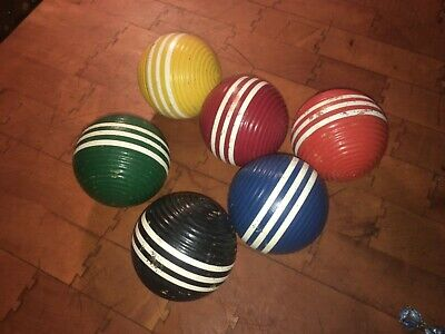 Vintage Set Of 6 CROQUET BALL WOODEN TRIPLE STRIPED RIBBED - 3   • 18.12£