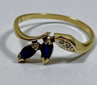 AU175 • Buy Genuine 9ct Yellow Gold Ring With Sapphires And Diamonds Size P