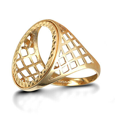 AU419.44 • Buy Jewelco London Men's Solid 9ct Yellow Gold Basket Full Sovereign Mount Ring