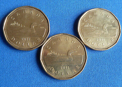 £2.99 • Buy 3x CANADIAN LOON $1 ONE DOLLAR COINS 2011