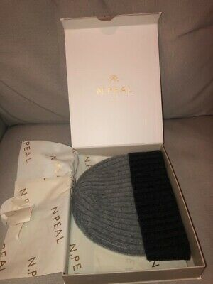N.Peal Cashmere Beanie. Charcoal And Grey. One Size. Never Worn. Original Box. • 30£