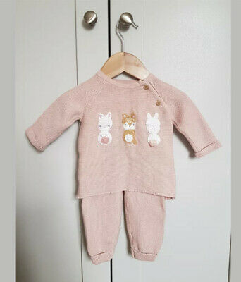 F&F Baby Girl Easter Bunny Fox Outfit Woodland Animals Pink 0-3 Months • 6£