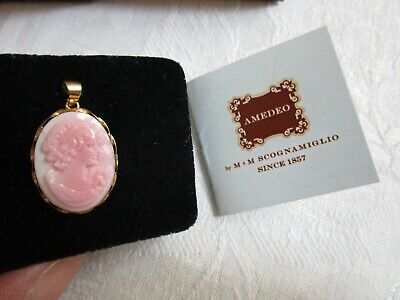 $186.99 • Buy 14K Gold Pink Cameo Pendant Italy M&M Scognamiglio Hand Carved NIB