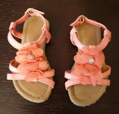 Lovely Pinky/Orange Sandals With Flower Detail - Size 7 • 1.50£