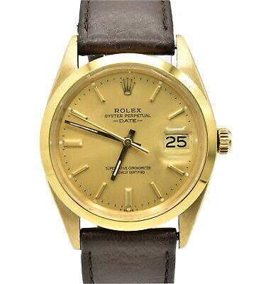 $ CDN6042.47 • Buy Vintage 18k Rolex Date 1505 Yellow Gold Leather Band Automatic Mens Watch