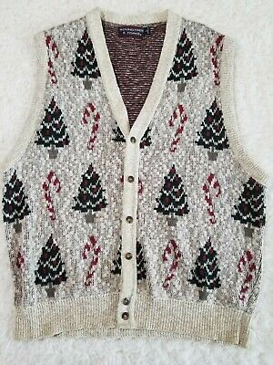 $24.99 • Buy Roundtree & Yorke Sleeveless Button Up Christmas Sweater Vest Size L (EE1)